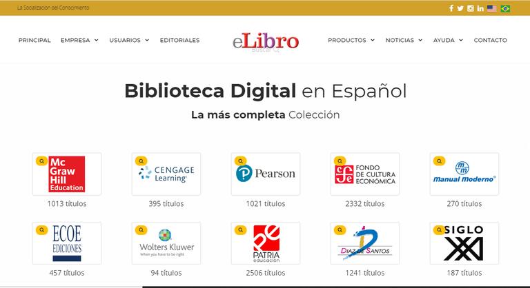 Figura 1. Página inicial del proveedor eLibro